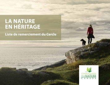 La nature en héritage - Liste de remerciement