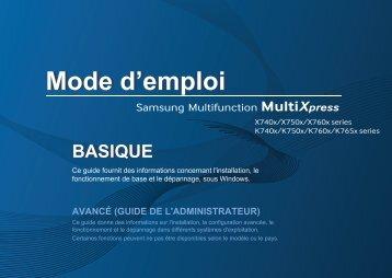 Samsung SL-X7400GX Multifonction A3 Couleur 40 ppm (SL-X7400GX/SEE ) - Manuel de l'utilisateur 30.1 MB, pdf, Français