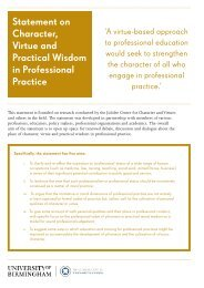 Statement on Character Virtue and Practical Wisdom in Professional Practice