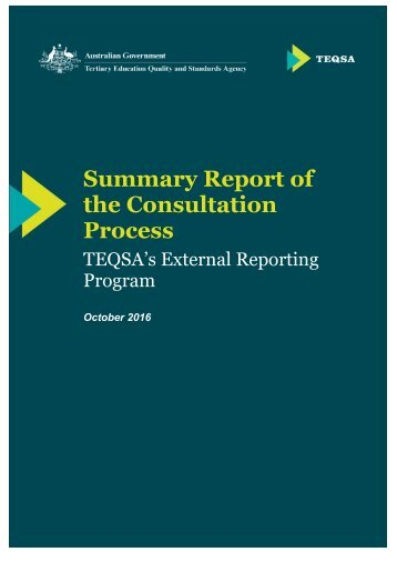 Summary Report of the Consultation Process