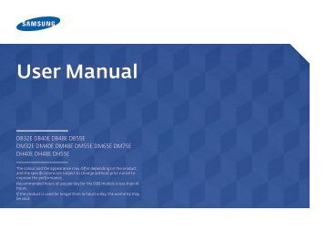 """Samsung Moniteur 32"""" - 400cd/m² - DM32E (LH32DMEPLGC/EN ) - Manuel de l'utilisateur 5.03 MB, pdf, Anglais"""