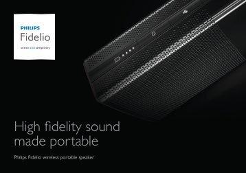 Philips Fidelio wireless portable speaker - Product brochure - AEN