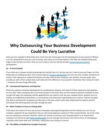 Why Outsourcing Your Business Development Could Be Very Lucrative
