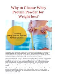 Why to Choose Whey Protein Powder for Weight loss