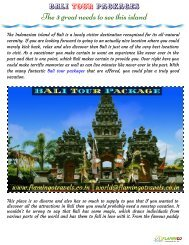 Bali Tour Packages :The 3 incredible necessities to see this island