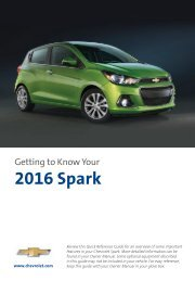 Chevrolet 2016 Spark - Get To Know Your Vehicle
