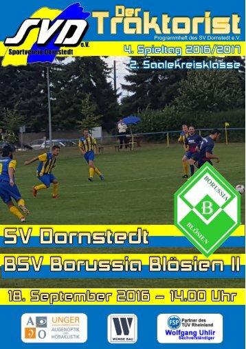 """Der Traktorist"" - 4. Spieltag 2. Saalekreisklasse 2016/2017 - SV Dornstedt vs. BSV Borussia Blösien II"