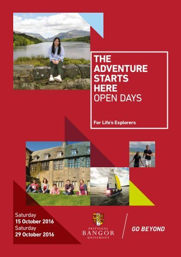 THE ADVENTURE STARTS HERE OPEN DAYS