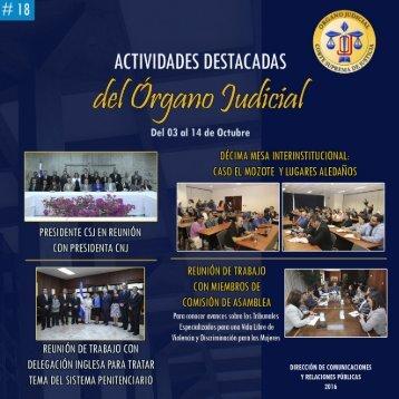 Actividades destacadas del Órgano Judicial