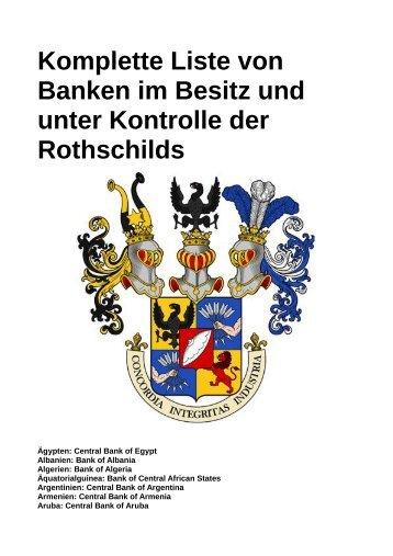 Komplette Liste von Banken im Besitz und unter Kontrolle der Rothschilds