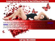 Amazing Escorts in Chennai for Real Girlfriend Experience