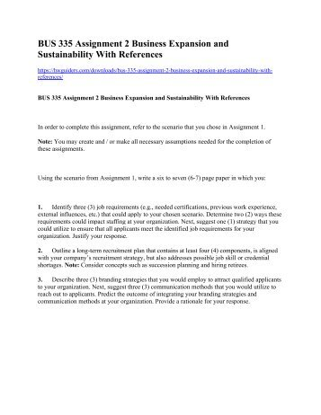 BUS 335 Assignment 2 Business Expansion and Sustainability With References