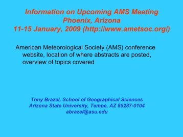 Information on Upcoming AMS Meeting: Phoenix, Arizona: 11-15 ...