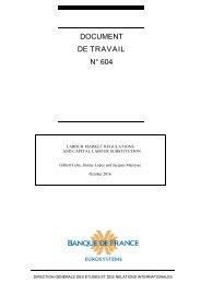 DOCUMENT DE TRAVAIL N° 604