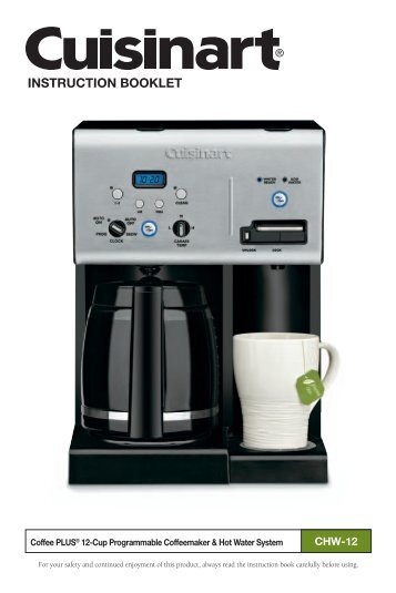 Cuisinart Coffee Maker Hot Water Manual : Manual Cover Page HIC HZB-12 - Water Well