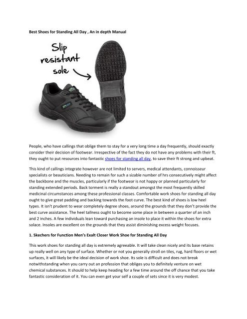 shoe sole for standing all day