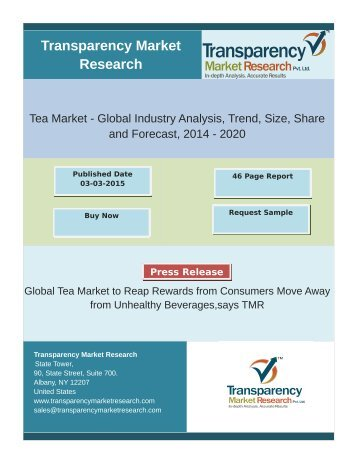 Global Tea Market to Develop at 2.8% CAGR between 2014 & 2020