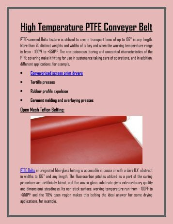 High Temperature Conveyer PTFE Belts