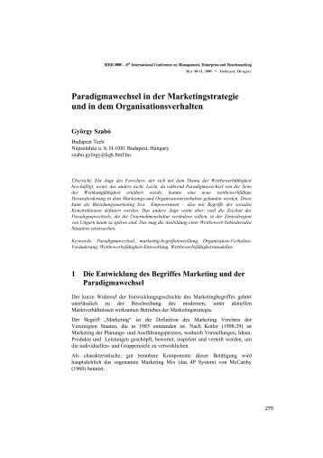 Paradigmawechsel in der Marketingstrategie und in dem ...