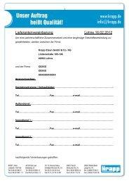 Lieferantenvereinbarung - bei Krapp Eisen GmbH & Co. KG
