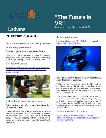 VR Newsletter edition 15