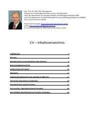 CV – Inhaltsverzeichnis