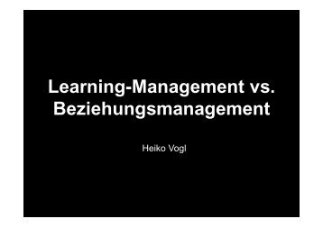 Learning-Management vs. Beziehungsmanagement