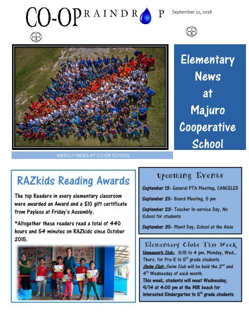 Elementary Raindrop Newsletter September 11, 2016