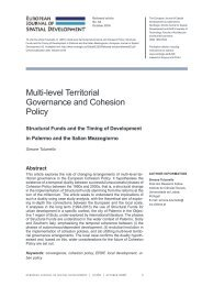 Multi-level Territorial Governance and Cohesion Policy urban