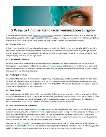 5 Ways to Find the Right Facial Feminization Surgeon
