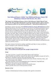 Von Willebrand Disease (Factor VIII Deficiency) Global Clinical Trials Review, H2, 2016