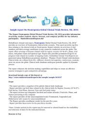 Neutropenia Global Clinical Trials Review, H2, 2016