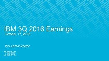 IBM 3Q 2016 Earnings
