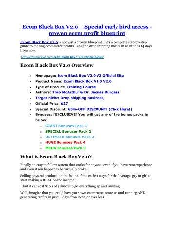 Ecom Black Box V2.0 review-(MEGA) $23,500 bonus of Ecom Black Box V2.0