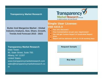 Butter and Margarine Market-Global Industry Analysis,Competitive Insight & Key drivers; Research Report 2015 – 2023