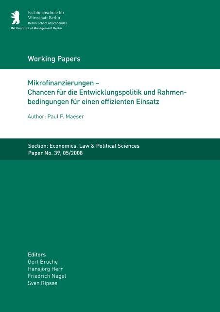 Mikrofinanzierungen – Chancen für die Entwicklungspolitik und ...