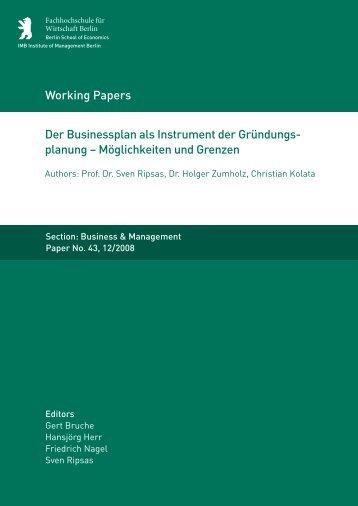 Der Businessplan als Instrument der Gründungs - MBA Programme ...
