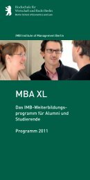 MBA XL - MBA Programme der HWR Berlin