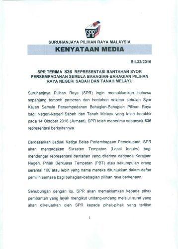 SPR Terima 836 Representasi bantahan syor persempadanan