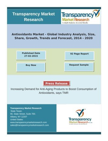 Antioxidants Market is Growing at a CAGR of 5.6% from 2014 to 2020 to Account for USD 3111.5 mn in 2020