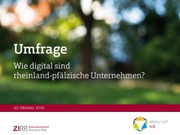 Umfrage der ZIRP: Wirtschaft 4.0 - Wie digital sind rheinland-pfälzische Unternehmen?