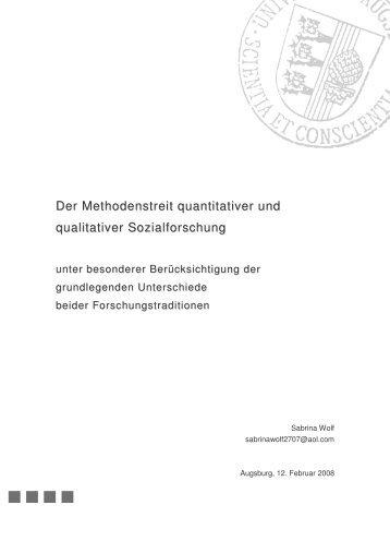 Der Methodenstreit quantitativer und qualitativer ... - w.e.b.Square