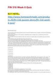 FIN 516 Week 6 Quiz