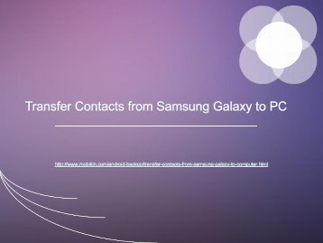 Transfer Contacts from Samsung Galaxy to PC