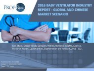 BABY VENTILATOR INDUSTRY REPORT
