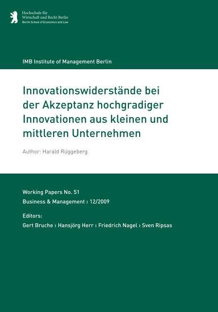 Innovationswiderstände bei der Akzeptanz hochgradiger ...