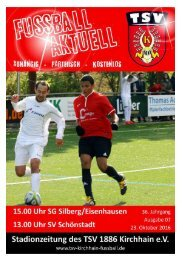 23.10.2016 Stadionzeitung Silberg/Eisenhausen - Schönstadt