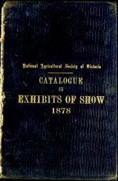 1878 Royal Melbourne Show - Catalogue of Exhibits