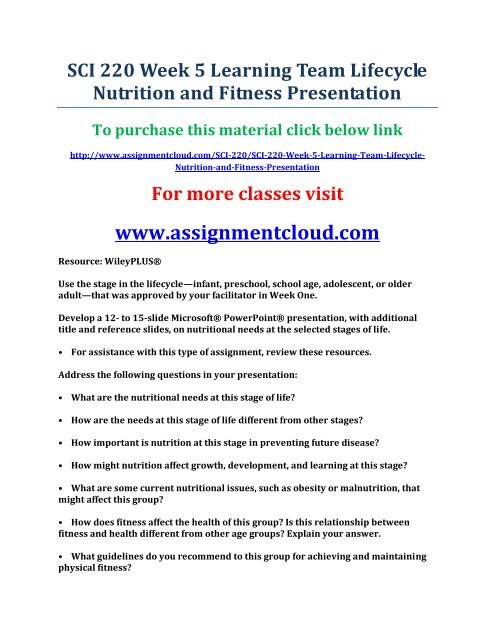 SCI 220 Week 5 Learning Team Lifecycle Nutrition and