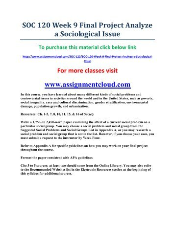 SOC 120 Week 9 Final Project Analyze a Sociological Issue